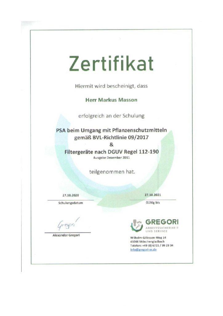 Zertifikat Umgang Pflanzenschutzmittel